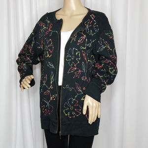 Additions by Chico's black floral zipper jacket XL